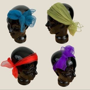 Vintage Bundle of Four Chiffon Head Scaves